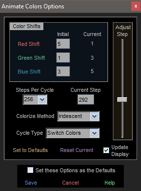 Animate Colors Options